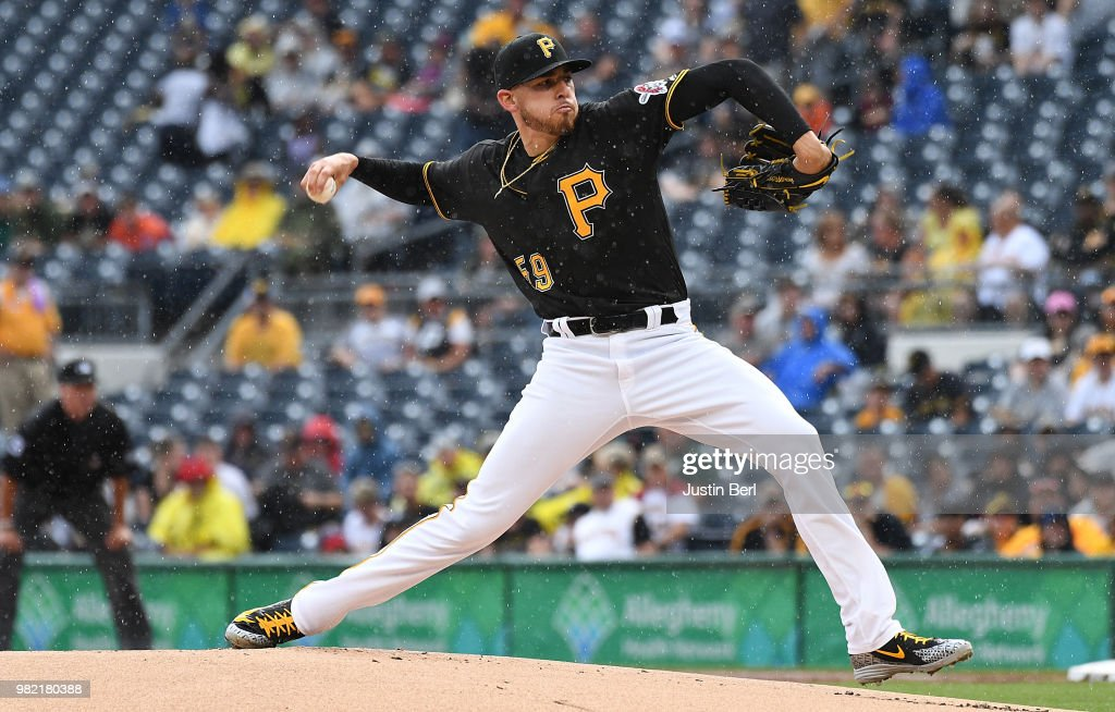 Joe Musgrove #59 of the Pittsburgh Pirates delivers a pitch in the first inning during the game against the Arizona Diamondbacks at PNC Park on June 23, 2018 in Pittsburgh, Pennsylvania.