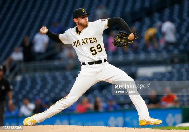 Joe Musgrove of the Pittsburgh Pirates pitches in the first inning against the Kansas City Royals during interleague play at PNC Park on September 17...