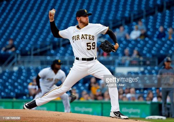 Joe Musgrove of the Pittsburgh Pirates pitches in the first inning against the Arizona Diamondbacks at PNC Park on April 22 2019 in Pittsburgh...