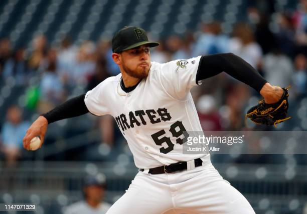 Joe Musgrove of the Pittsburgh Pirates pitches in the first inning against the Milwaukee Brewers at PNC Park on May 30, 2019 in Pittsburgh,...