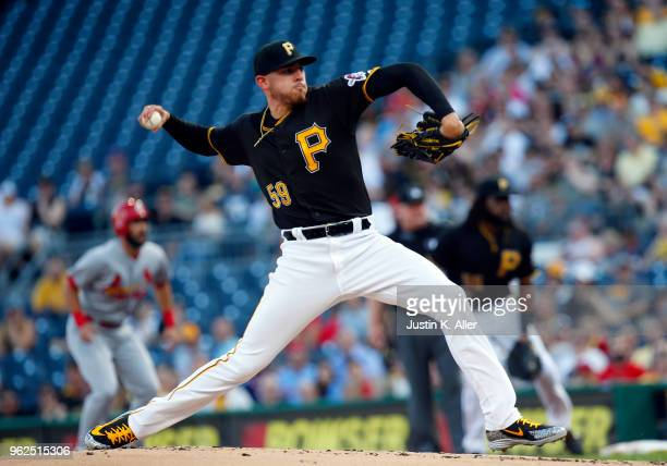 Joe Musgrove of the Pittsburgh Pirates pitches in the first inning against the St Louis Cardinals at PNC Park on May 25 2018 in Pittsburgh...