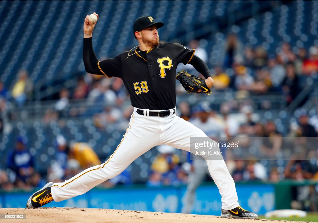 Joe Musgrove #59 of the Pittsburgh Pirates pitches in the first inning against the Los Angeles Dodgers at PNC Park on June 5, 2018 in Pittsburgh, Pennsylvania.