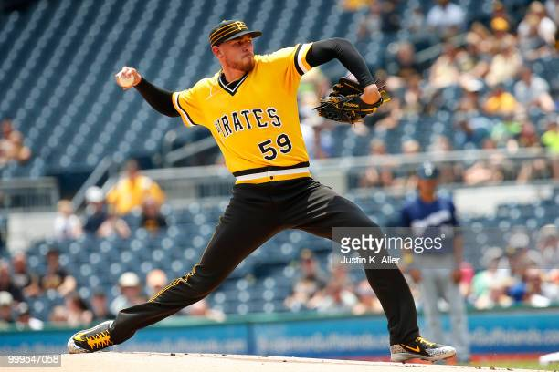 Joe Musgrove of the Pittsburgh Pirates pitches in the first inning against the Milwaukee Brewers at PNC Park on July 15 2018 in Pittsburgh...