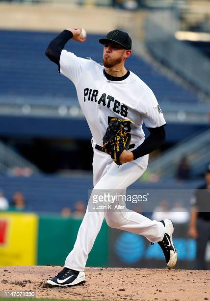 Joe Musgrove of the Pittsburgh Pirates pitches in the second inning against the Milwaukee Brewers at PNC Park on May 30, 2019 in Pittsburgh,...