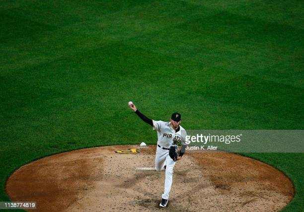 Joe Musgrove of the Pittsburgh Pirates pitches in the seventh inning against the Arizona Diamondbacks at PNC Park on April 22 2019 in Pittsburgh...