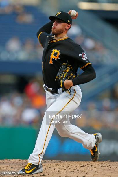 Joe Musgrove of the Pittsburgh Pirates pitches in the third inning against the St Louis Cardinals at PNC Park on May 25 2018 in Pittsburgh...