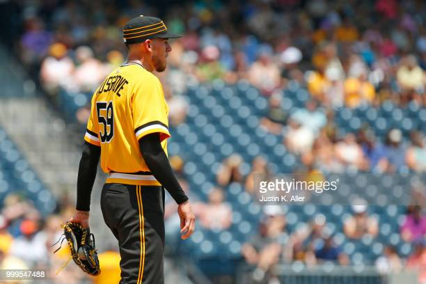 Joe Musgrove of the Pittsburgh Pirates reacts after giving up a home run in the second inning against the Milwaukee Brewers at PNC Park on July 15...