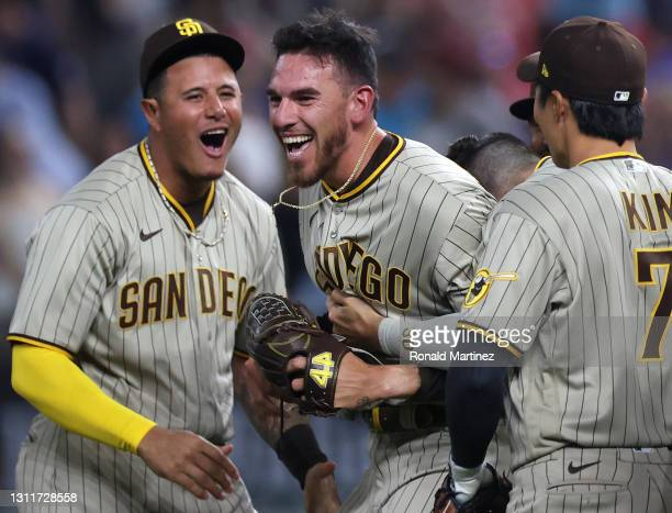 Joe Musgrove of the San Diego Padres celebrates with his team after pitching a no-hitter against the Texas Rangers at Globe Life Field on April 09,...
