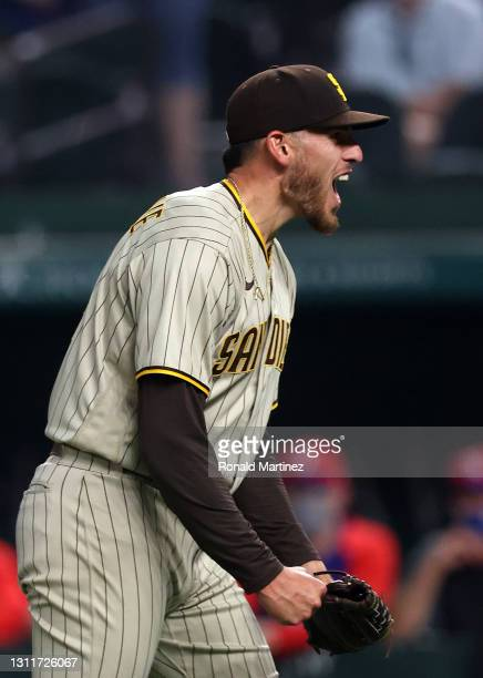 Joe Musgrove of the San Diego Padres reacts after pitching a no-hitter against the Texas Rangers at Globe Life Field on April 09, 2021 in Arlington,...