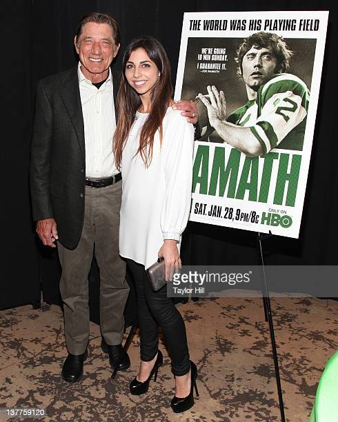 Joe Namath and daughter Jessica Namath attend the premiere of Namath at the HBO Theater on January 25 2012 in New York City