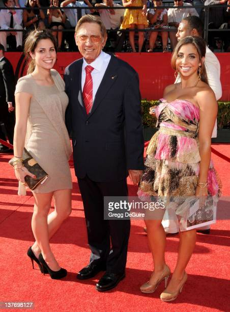 Joe Namath and daughter's Jessica Grace and Olivia Rose arrive at the 2010 ESPY Awards at the Nokia Theatre LA Live on July 14 2010 in Los Angeles...