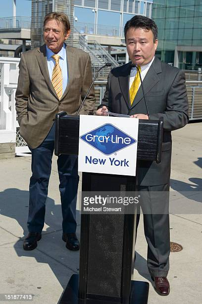 Joe Namath and David Chien attend Gray Line New York's Ride of Fame campaign at Pier 78 on September 12 2012 in New York City