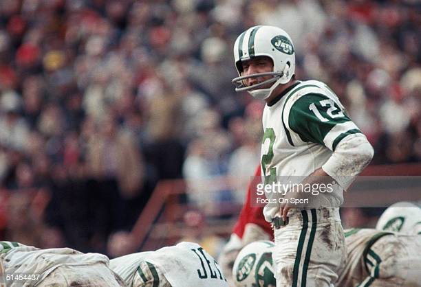 Joe Namath of the New York Jets contemplates a play during a game against the Kansas City Chiefs in Kansas City Missouri