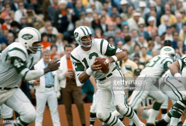 Joe Namath of the New York Jets drops back to pass against the Baltimore Colts during Super Bowl III at the Orange Bowl on January 12 1969 in Miami...
