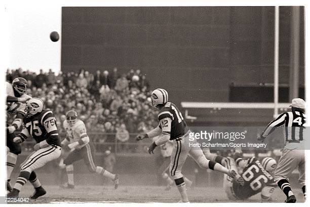 Joe Namath of the New York Jets passing in the AFL Championship Game against the Kansas City Chiefs in Shea Stadium on December 20 1969 in Flushing...