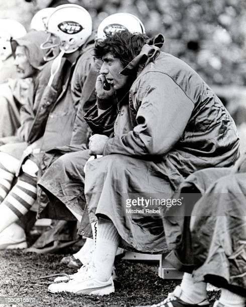Joe Namath Quarterback for the New York Jets on the bench talking with the offensive coaches getting upstairs This photo was taken in 1972 at Shea...