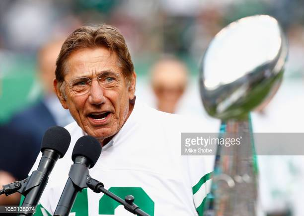 Joe Namath speaks during a Super Bowl III 50th Anniversary celebration during halftime of the game between the New York Jets and the Indianapolis...