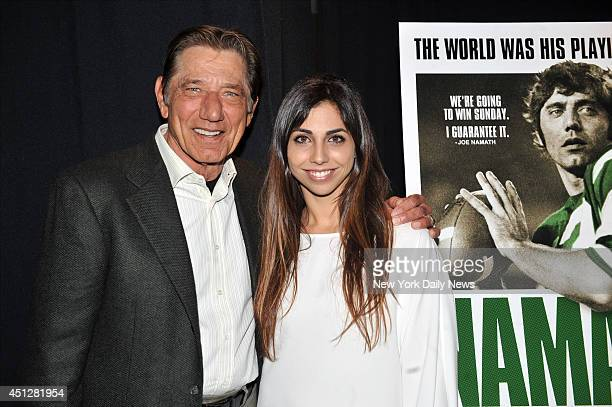 Joe Namath with his daughter Jessica at HBO where they held the NY Premiere of Namath a documentary on the life career and legacy of the NFL Icon Joe...
