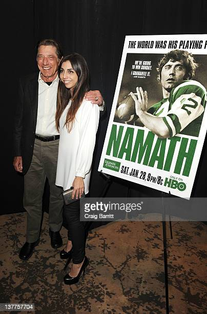 Joe Namath with his daughter Jessica Namath attends the premiere of Namath at the HBO Theater on January 25 2012 in New York City