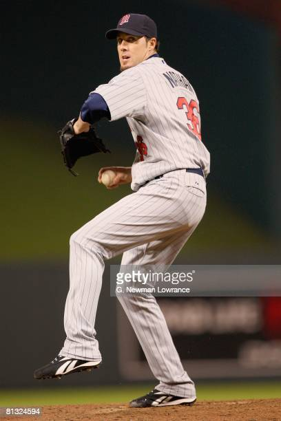 Joe Nathan of the Minnesota Twins delivers a pitch against the Kansas City Royals on May 28 2008 at Kauffman Stadium in Kansas City Missouri