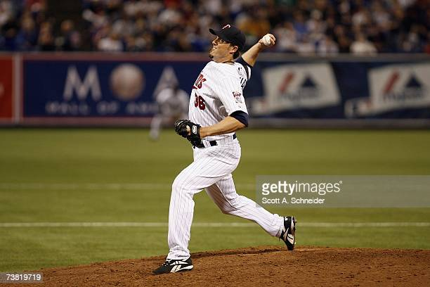 Joe Nathan of the Minnesota Twins pitches against the Baltimore Orioles during the Opening Day game on April 2 2007 at the Metrodome in Minneapolis...