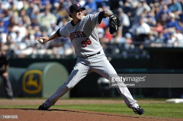 Joe Nathan of the Minnesota Twins pitches during the game against the Kansas City Royals at Kauffman Stadium in Kansas City Missouri on April 21 2007...
