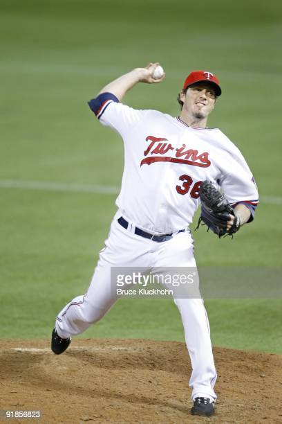 Joe Nathan of the Minnesota Twins pitches to the Kansas City Royals on October 3 2009 at the Metrodome in Minneapolis Minnesota The Twins won 54