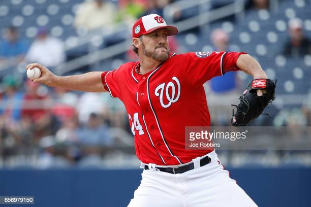 Joe Nathan of the Washington Nationals pitches in the seventh inning of a Grapefruit League spring training game against the New York Mets at The...