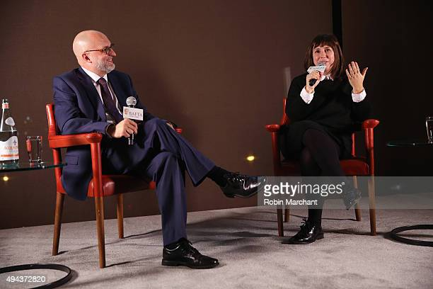 Joe Neumaier and Abi Morgan attend the BAFTA New York With The Standard Hosts In Conversation With Abi Morgan on October 26 2015 in New York City