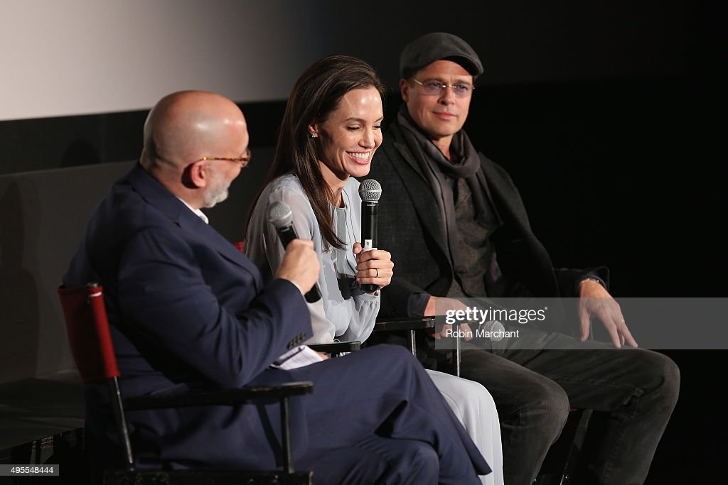 Joe Neumaier, Angelina Jolie and Brad Pitt attend an official Academy Screening of BY THE SEA hosted by The Academy Of Motion Picture Arts And Sciences on November 3, 2015 in New York City.