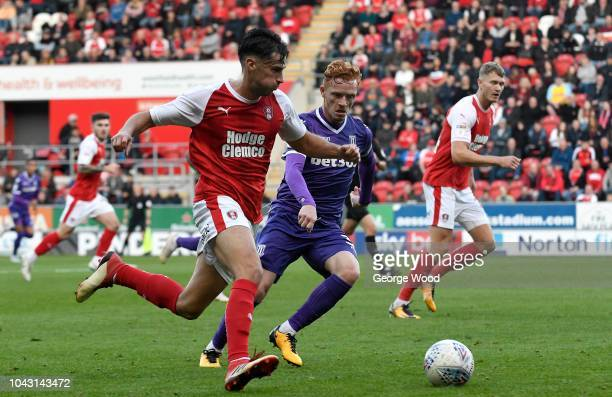 Joe Newell of Rotherham United competes for the ball with Ryan Woods of Stoke City during the Sky Bet Championship match between Rotherham United and...