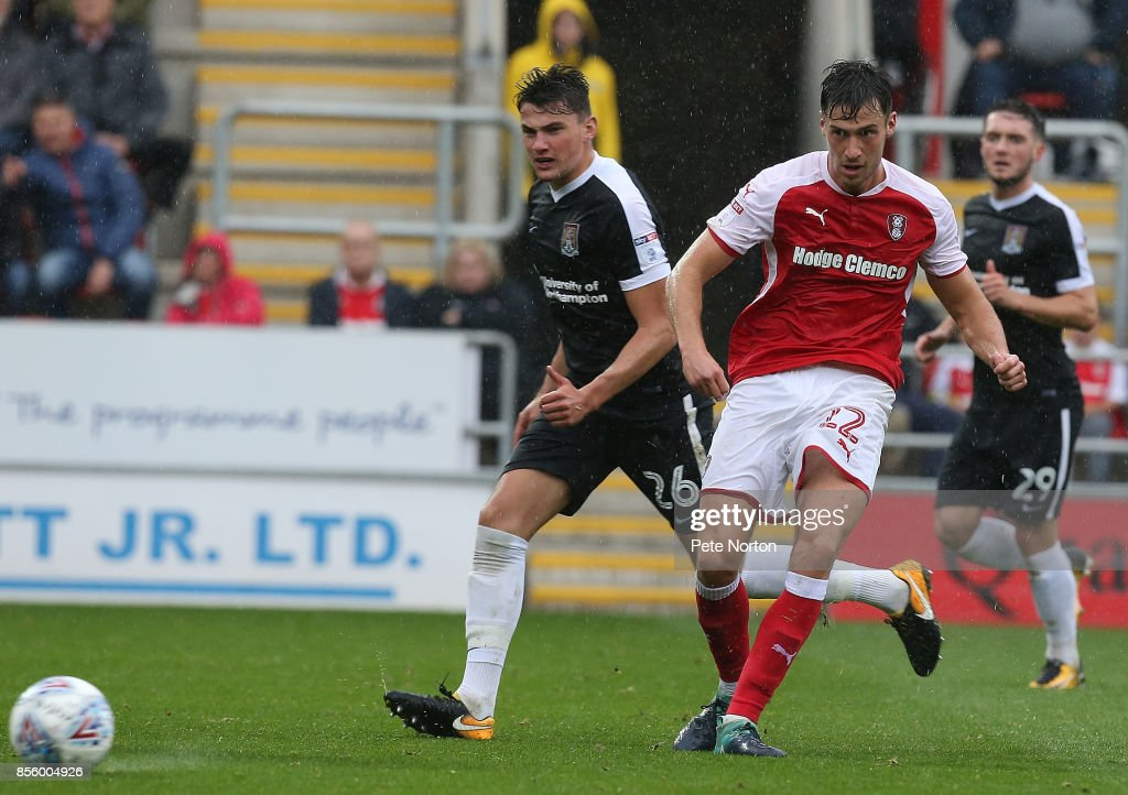 Joe Newell of Rotherham United in action during the Sky Bet League One match between Rotherham United and Northampton Town at The Aesseal New York Stadium on September 30, 2017 in Rotherham, England.