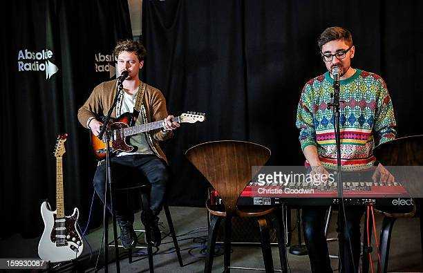 Joe Newman and Gus UngerHamilton of Alt J perform an Exclusive Session at Absolute Radio on January 23 2013 in London England