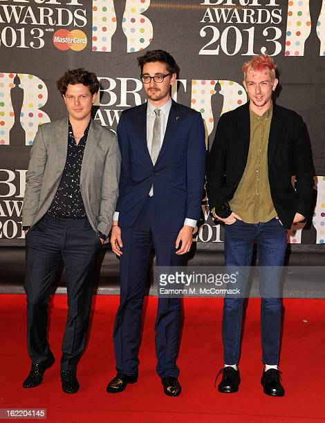 Joe Newman Gus UngerHamilton and Thom Green of AltJ attends the Brit Awards 2013 at the 02 Arena on February 20 2013 in London England