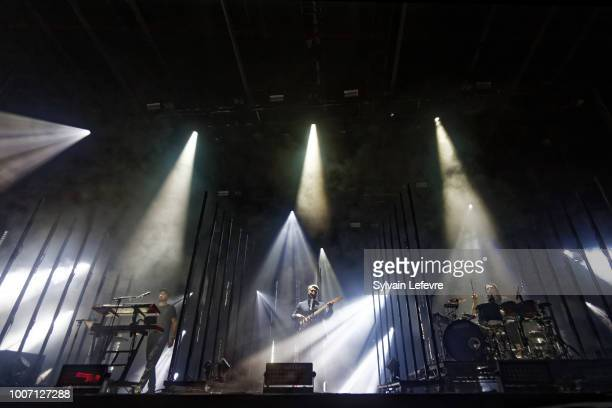 Joe Newman performs live on stage with his band AltJ during Nuits Secretes Festival day 2 on July 28 2018 in AulnoyeAymeries France