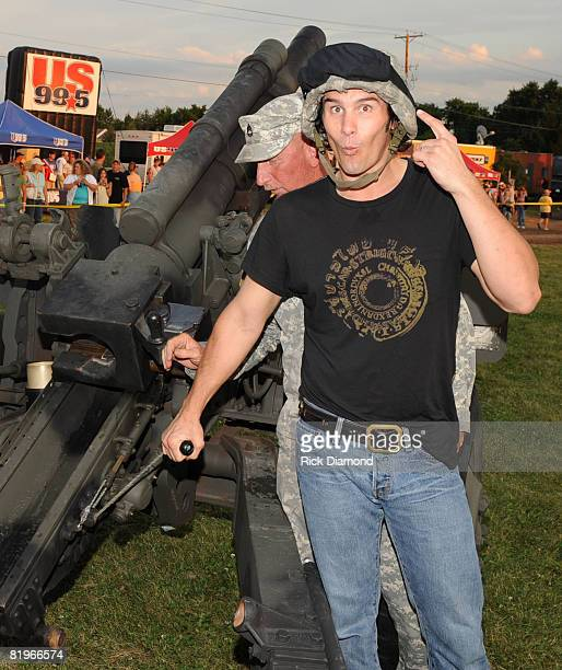 Joe Nichols fires cannon during the 16th Annual Country Thunder USA The Big Event Presented by Miller Lite Day 1 July 16 2008 on Shadow Hill Ranch in...