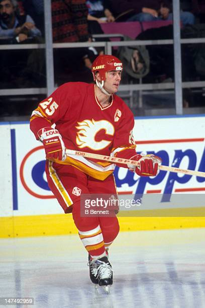Joe Nieuwendyk of the Calgary Flames skates on the ice during an NHL game against the New York Rangers on January 5 1994 at the Madison Square Garden...
