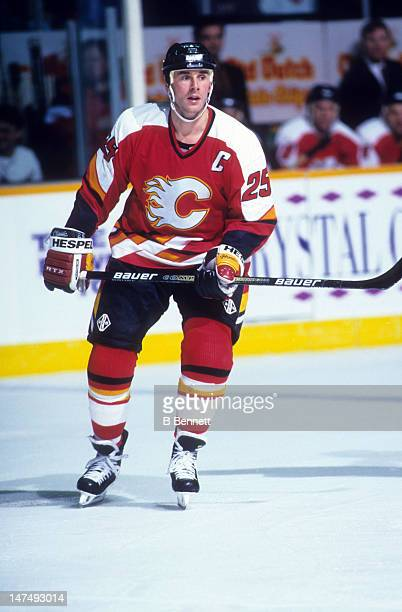 Joe Nieuwendyk of the Calgary Flames skates on the ice during an NHL game against the Winnipeg Jets on March 5 1995 at the Winnipeg Arena in Winnipeg...
