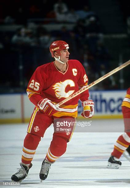 Joe Nieuwendyk of the Calgary Flames skates on the ice during an NHL game against the New York Islanders on January 7 1994 at the Nassau Coliseum in...