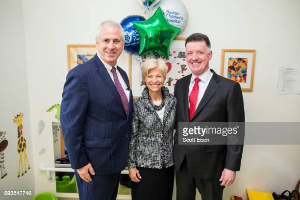 Joe Nolan EVP Customer Corporate Relations at Eversource from left Sandi Fenwick President and CEO Boston Children's Hospital Jim Judge Chairman...