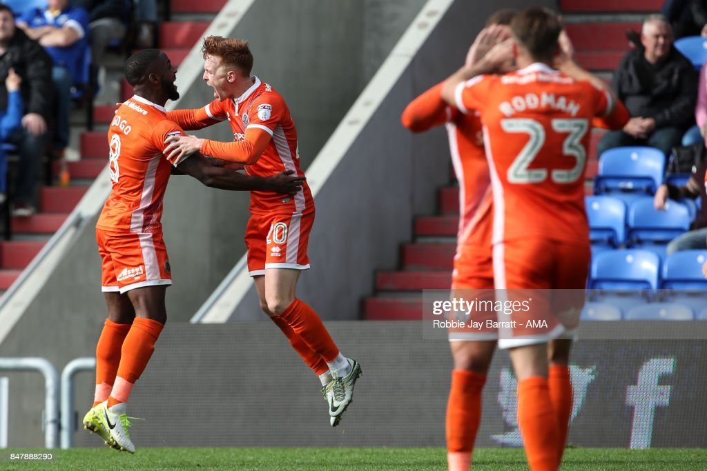 Joe Nolan of Shrewsbury Town celebrates after scoring a goal to make it 1-2during the Sky Bet League One match between Oldham Athletic and Shrewsbury Town at Boundary Park on September 16, 2017 in Oldham, England.