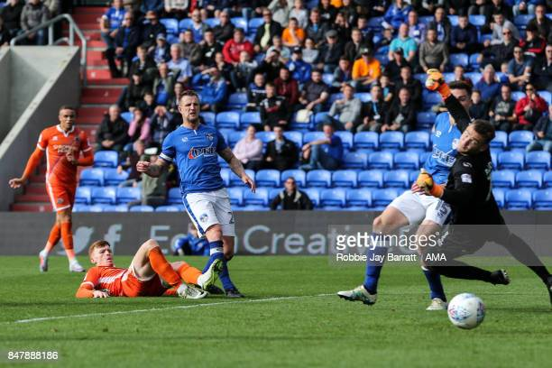 Joe Nolan of Shrewsbury Town scores a goal to make it 12 during the Sky Bet League One match between Oldham Athletic and Shrewsbury Town at Boundary...