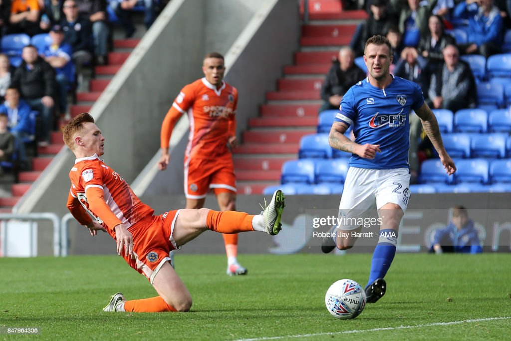 Joe Nolan of Shrewsbury Town scores a goal to make it 1-2 during the Sky Bet League One match between Oldham Athletic and Shrewsbury Town at Boundary Park on September 16, 2017 in Oldham, England.