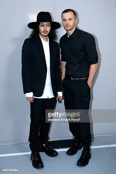 Joe Odagiri and Fashion designer Kris Van Assche pose Backstage after the Dior Homme Menswear Spring/Summer 2017 show as part of Paris Fashion Week...