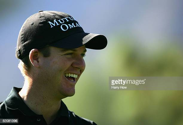 Joe Ogilvie laughs on the 11th hole during the fourth round of the Bob Hope Classic at the La Quinta Country Club on January 29 2005 in La Quinta...