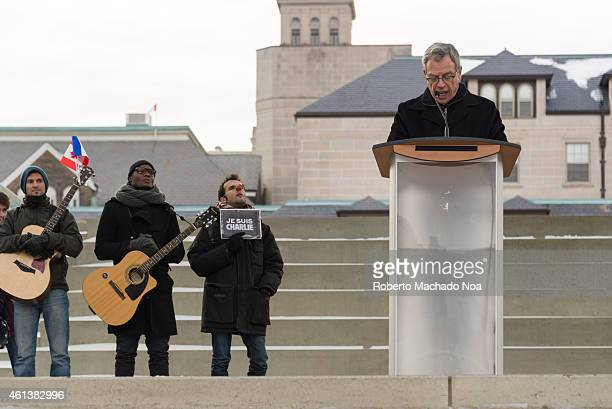 SQUARE TORONTO ONTARIO CANADA Joe Oliver Minister of Finance of Canada address the people gathered in Nathan Phillips Square to honor the victims of...
