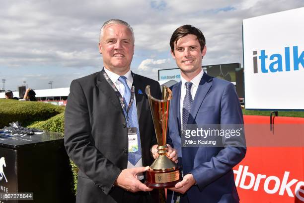 Joe Osborne Group Chief Executive at Godolphin with James Cummings on the right after Banish won the italktravel Fillies Classic at Moonee Valley...