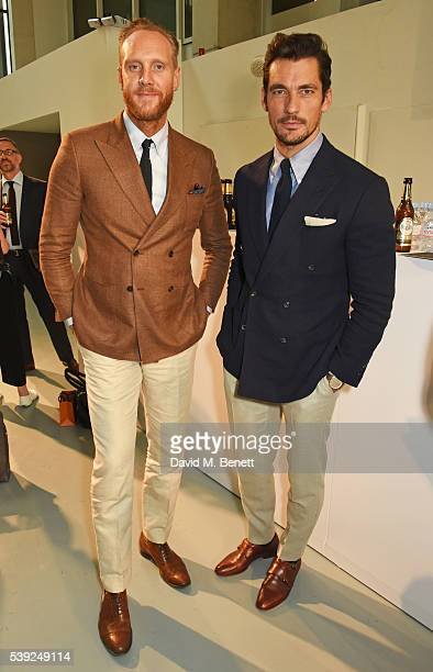 Joe Ottaway and David Gandy attend the Oliver Spencer show during The London Collections Men SS17 at the BFC Show Space on June 10, 2016 in London,...