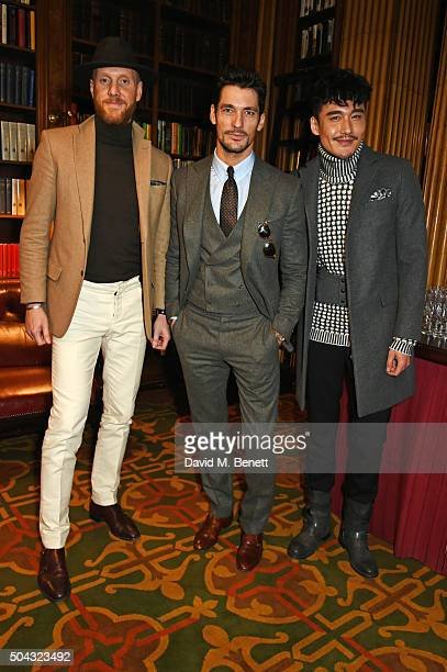 Joe Ottaway David Gandy and Hu Bing attend the Pringle Of Scotland Menswear Autumn/Winter 2016 show during London Collections Men on January 10 2016...