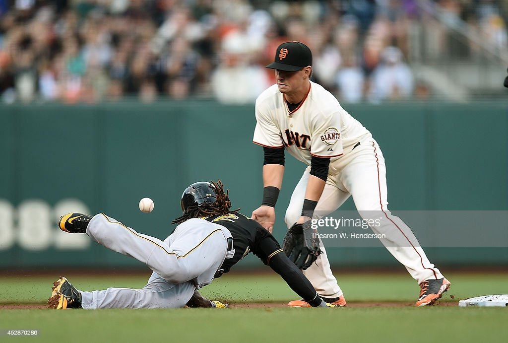 Joe Panik #12 of the San Francisco Giants can't handle the throw as Andrew McCutchen #22 of the Pittsburgh Pirates dives back into second base in the top of the first inning at AT&T Park on July 28, 2014 in San Francisco, California. The throw got past Panik and McCutchen went to third base on the error.